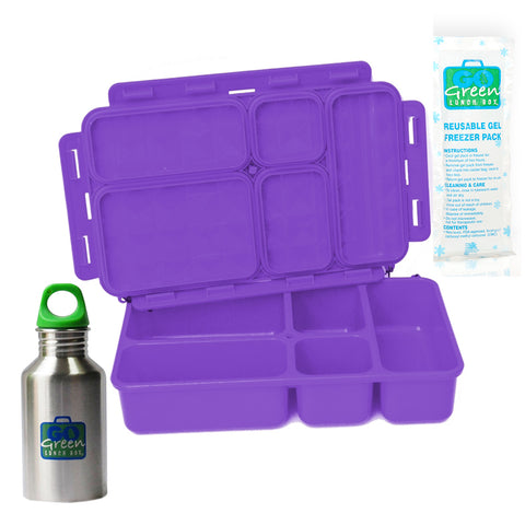 Go Green 5-Compartment Leakproof Lunch Box Set: PURPLE