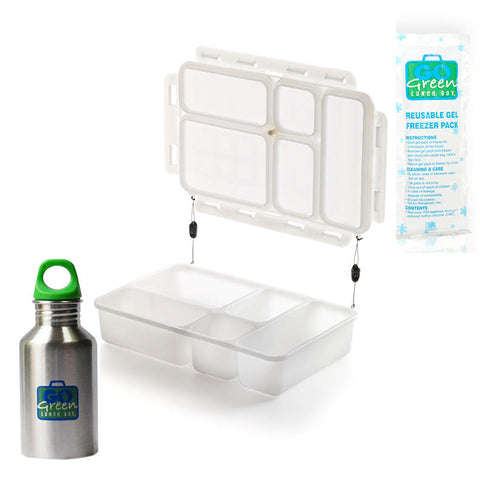 Go Green 5-Compartment Leakproof Lunch Box Set: WHITE