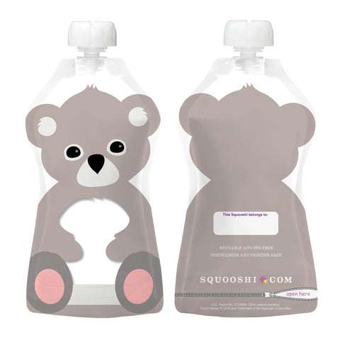 Try-a-Squooshi: NEW Design - KOALA (Reusable Food Pouch: Larger, Softer & Cuter!)