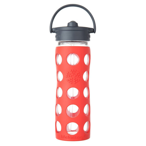 LifeFactory 16 oz Glass Bottle with Straw Cap and Silicone Sleeve - Poppy
