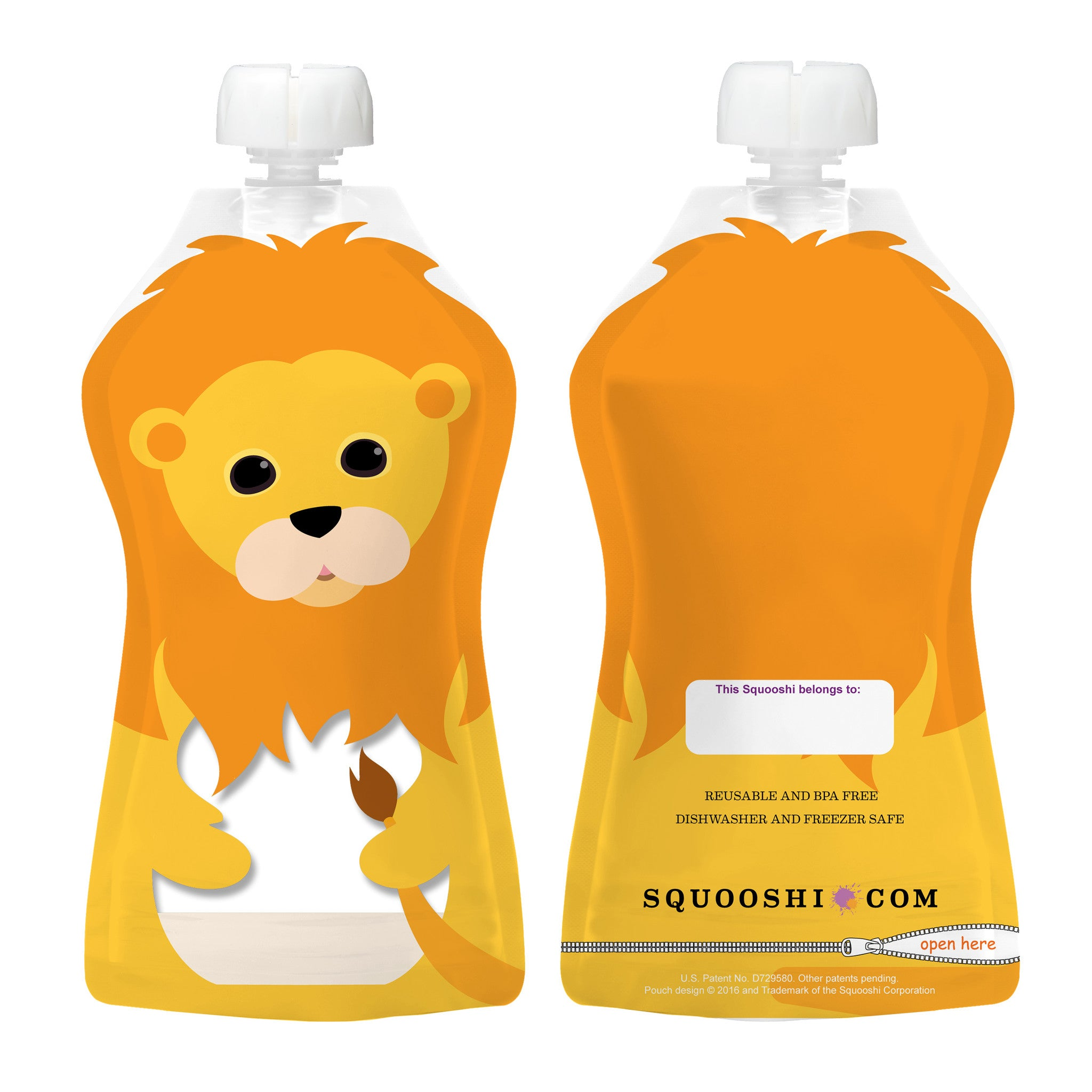 1af18f10c Try-a-Squooshi  NEW Design - LION (Reusable Food Pouch  Larger ...