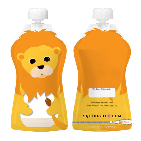Try-A-Squooshi: Lion (1 Large Reusable Food Pouch, 5oz)