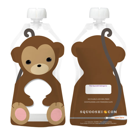 Try-a-Squooshi: NEW Design - MONKEY (Reusable Food Pouch: Larger, Softer & Cuter!)