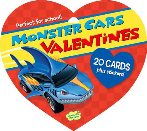 Peaceable Kingdom MONSTER CARS Valentine Heart Pack (20 cards & 48 Stickers) | CuteKidStuff.com
