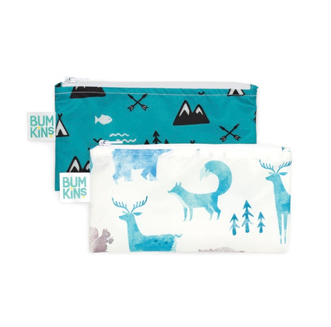 Bumkins Small Reusable Snack Bags (2 pack): Nature
