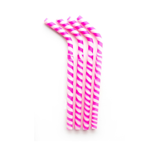 Greenpaxx Reusable Silicone Straw: Pink Candy Stripes