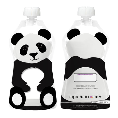 Try-a-Squooshi: NEW Design - PANDA (Reusable Food Pouch: Larger, Softer & Cuter!)