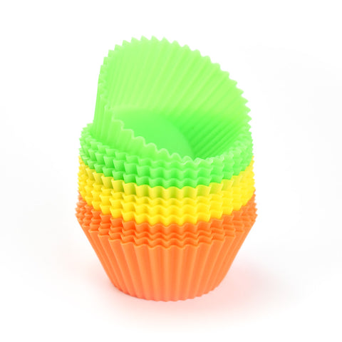 Orange-Yellow-Green OPEN 12-PACK: Silicone Round Reusable Baking Cups
