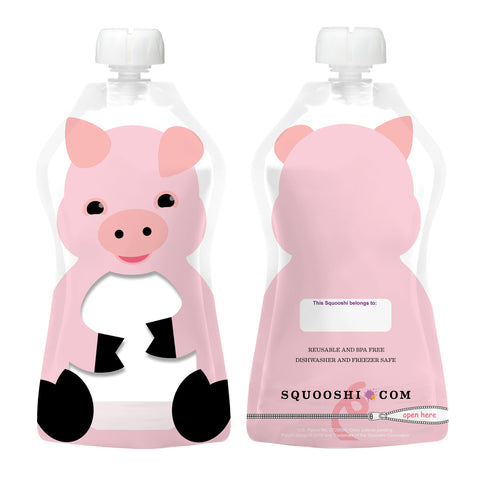 Try-a-Squooshi: NEW Design - PIGLET (Reusable Food Pouch: Larger, Softer & Cuter!)