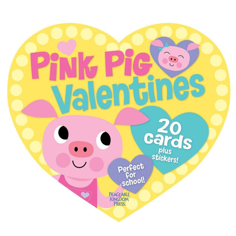 Peaceable Kingdom PINK PIG Valentine Heart Pack (20 Cards & 48 Stickers)