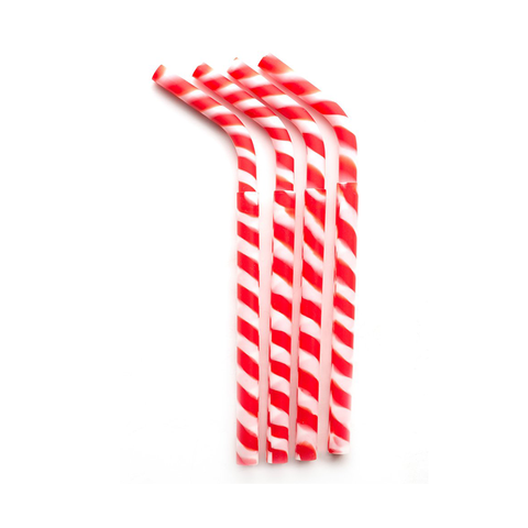 Greenpaxx Reusable Silicone Straw: Red Candy Stripes