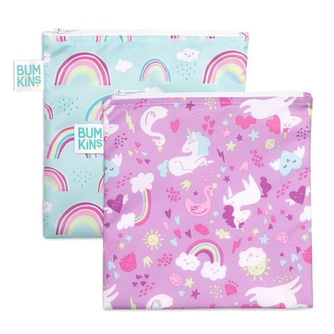 Bumkins Large Reusable Snack Bags (2 pack): Rainbows & Unicorns