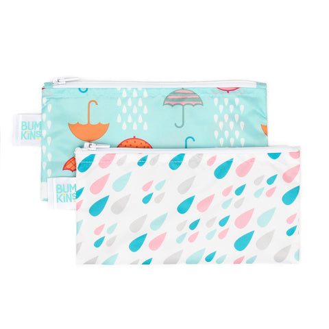 Bumkins Small Reusable Snack Bags (2 pack): Raindrops & Umbrellas