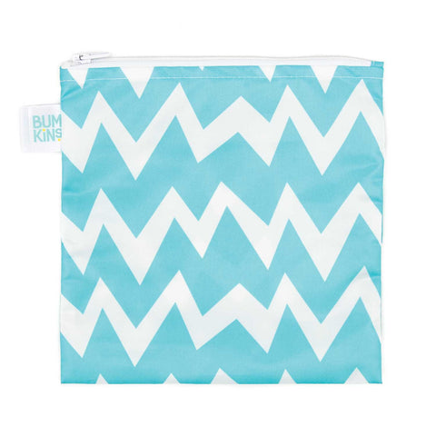 Bumkins Large Reusable Snack Bags: Chevron Blue