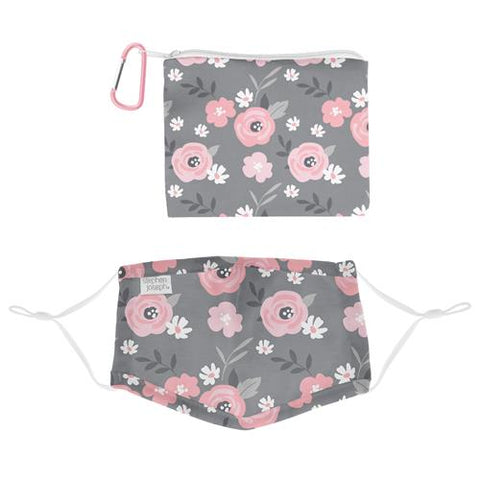 Stephen Joseph Cotton Face Mask With Pouch & Carabiner (Age 3+): Floral