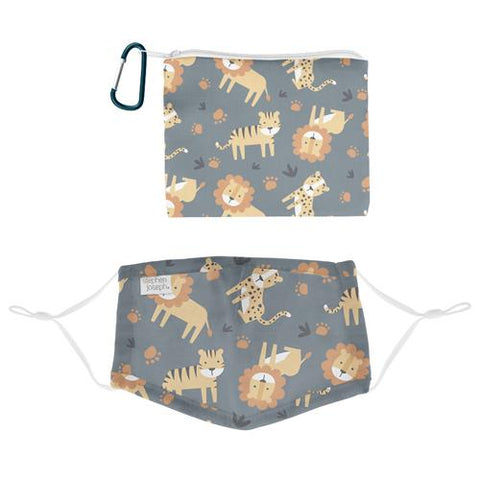 Stephen Joseph Cotton Face Mask With Pouch & Carabiner (Age 3+): Zoo