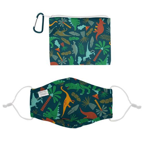 Stephen Joseph Polyester Face Mask With Filter Pocket, Pouch & Carabiner (Age 3+): Dino