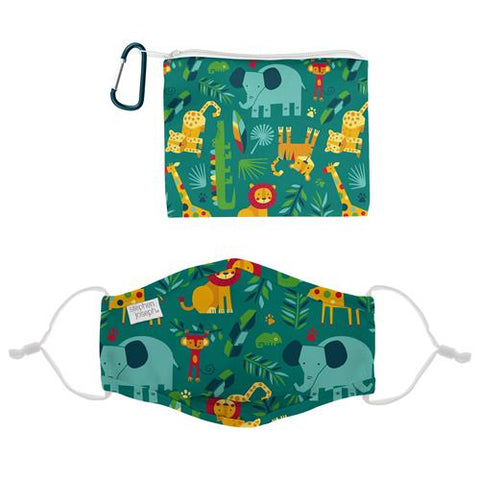 Stephen Joseph Polyester Face Mask With Filter Pocket, Pouch & Carabiner (Age 3+): Zoo