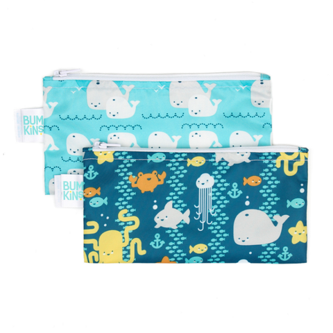 Bumkins Small Reusable Snack Bags (2 pack): Sea Friends & Whales