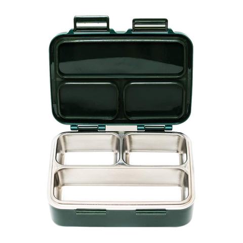 SkyeBox Leakproof Stainless Steel Bento Style Lunch Box: Dark Green