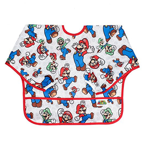 Bumkins Nintendo Waterproof Sleeved Bib: Super Mario