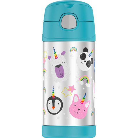 Thermos 12oz FUNtainer Straw Bottle: Magical Rainbow Unicorns
