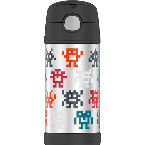 Thermos 12oz FUNtainer Straw Bottle: Pixel Gaming Monsters Boy