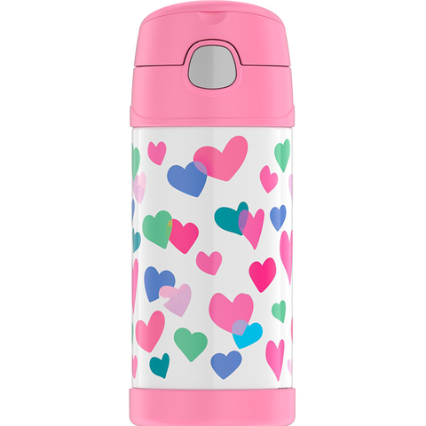 Thermos 12oz FUNtainer Straw Bottle: Watercolor Hearts