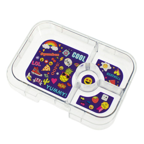 Yumbox Extra Tray: 4 Compartments, Emoji theme