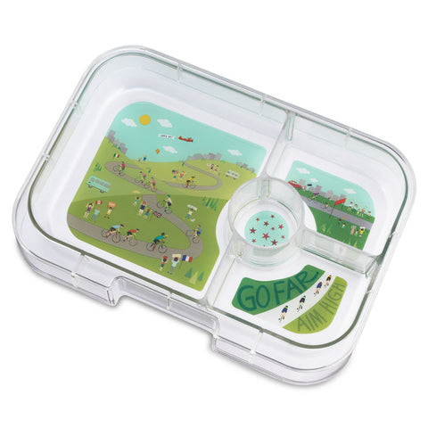 Yumbox Tapas - Extra 4-Compartment Tray, Bike Race theme
