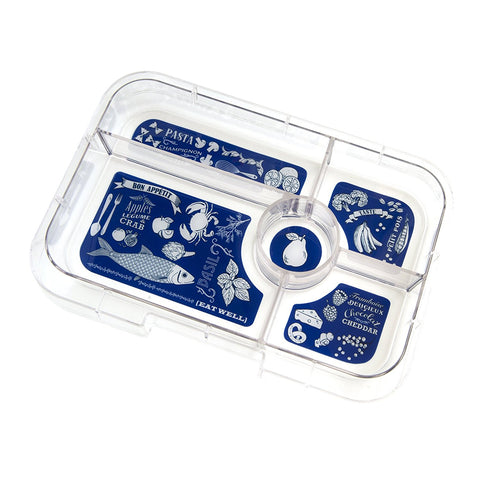 Yumbox Tapas - Extra 5-Compartment Tray, BLUE Bon Appetit Illustrations