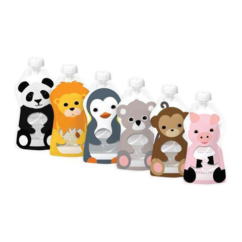 6 Large Squooshi Reusable Food Pouches (5oz): Assorted Animals