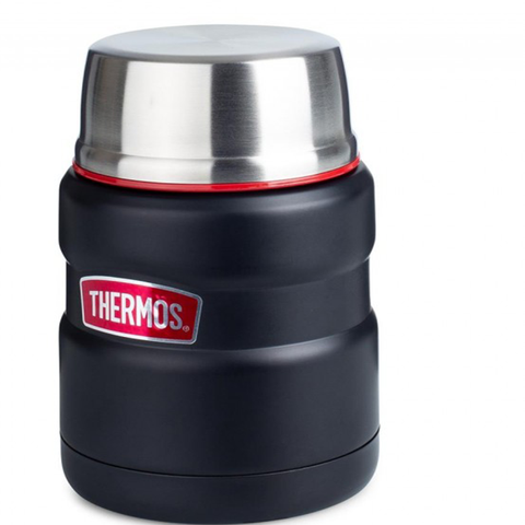 Thermos SS King 16 Oz Food Jar & Spoon - Matte Black/Red
