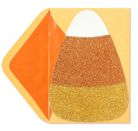Die-Cut Candy Corn w/ Glitter: PAPYRUS Greeting Card