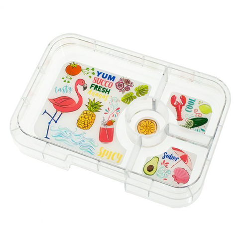 Yumbox Tapas - Extra 4-Compartment TAPAS Tray, Flamingo Themed