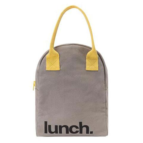 Fluf GREY YELLOW Zipper Lunch Bag