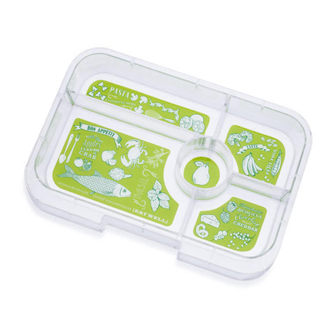 Yumbox Tapas - Extra 5-Compartment Tray, GREEN Bon Appetit Illustrations