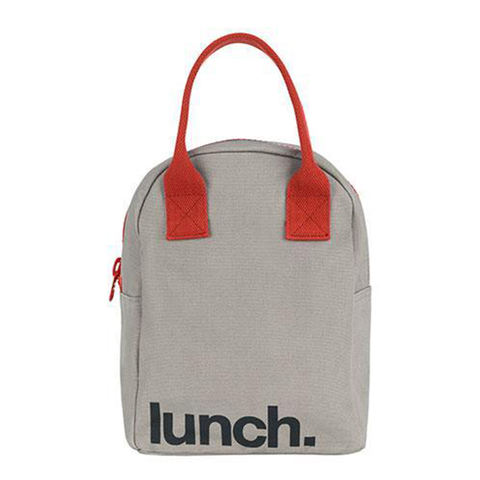 Fluf LUNCH GRAY BURGUNDY Zipper Lunch Bag