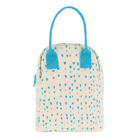 Fluf BLUE HEARTS Zipper Lunch Bag
