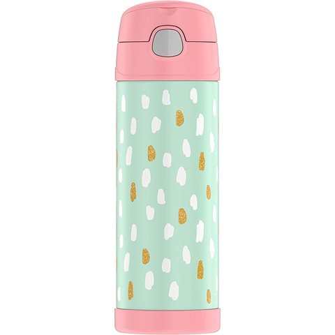 Thermos 16 oz FUNtainer Hydration Bottle with SPOUT: Paint Dots