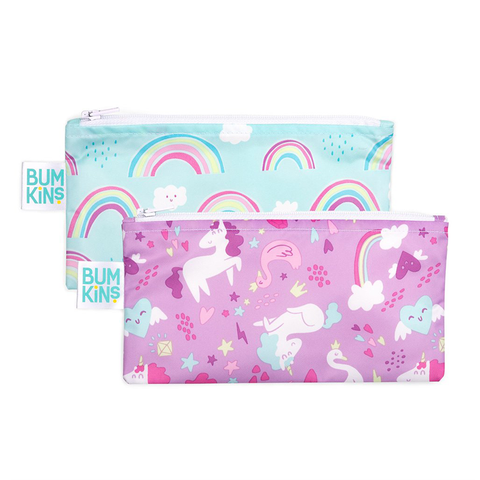 Bumkins Small Reusable Snack Bags (2 pack): Rainbows & Unicorns