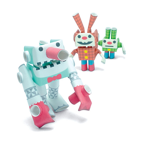 Magnote Piperoid Snow Giant, Lop & Dwarf Paper Craft Robot Kit - Snowman & Bunny Siblings