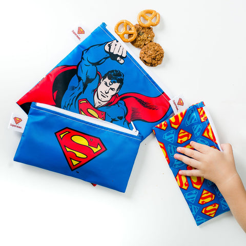 Bumkins Reusable Snack Bags (3 pack): Superman