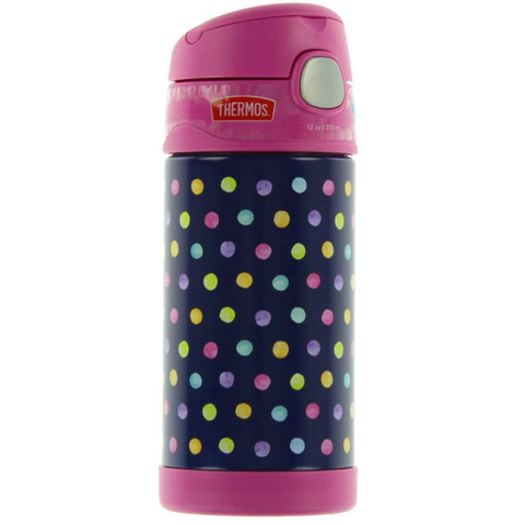 Thermos 12oz FUNtainer Straw Bottle: Water Color Dots