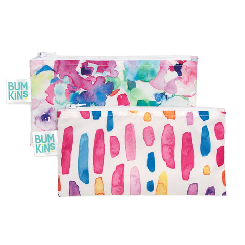 Bumkins Small Reusable Snack Bags (2 pack): Watercolour