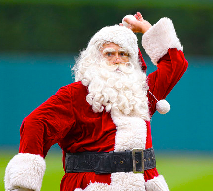 santa claus playing baseball