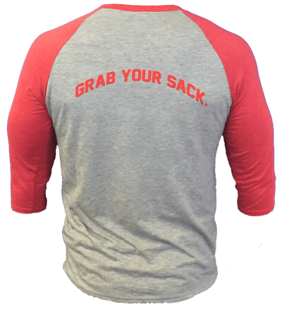 "Baseball's Original Seed Sack ""Grab Your Sack®"" 3/4 Length Baseball T"