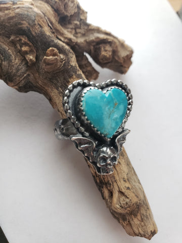 Turquoise heart winged skull ring