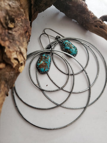 Turquoise Nugget Hoop Earrings