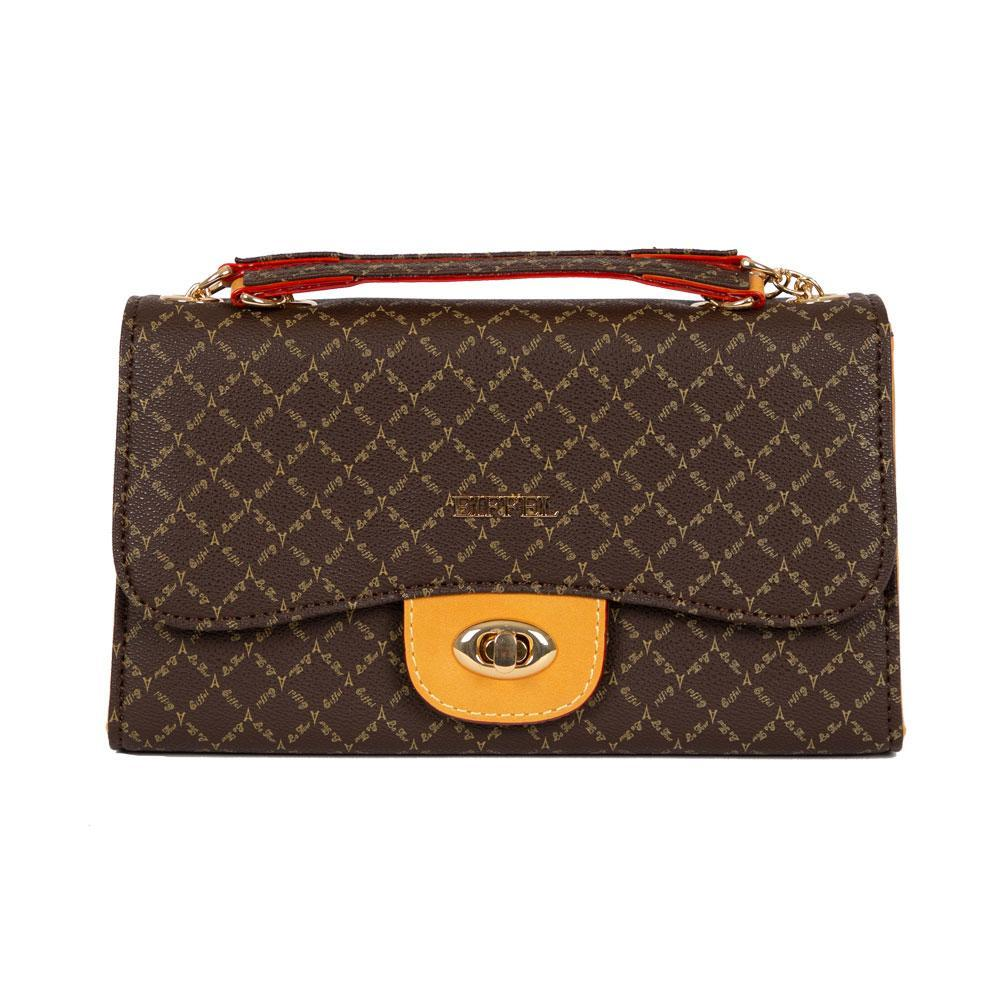 Brown Luxury Latch Closure Handbag